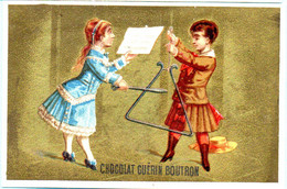 RARE Chromo Chocolat Guérin-Boutron Imp. APPEL . Instruments De Musique. Fond Doré. AP 3-1-43-1/4 - Guerin Boutron