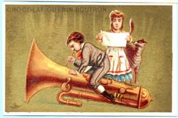 RARE Chromo Chocolat Guérin-Boutron Imp. APPEL . Instruments De Musique. Fond Doré. AP 3-1-43-1/5 - Guerin Boutron