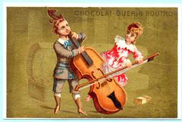 RARE Chromo Chocolat Guérin-Boutron Imp. APPEL . Instruments De Musique. Fond Doré. AP 3-1-43-1/6 - Guerin Boutron