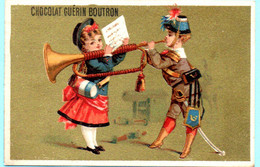 RARE Chromo Chocolat Guérin-Boutron Imp. APPEL . Instruments De Musique. Fond Doré. AP 3-1-43-2/1 - Guerin Boutron