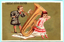 RARE Chromo Chocolat Guérin-Boutron Imp. APPEL . Instruments De Musique. Fond Doré. AP 3-1-43-2/2 - Guerin Boutron