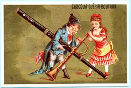 RARE Chromo Chocolat Guérin-Boutron Imp. APPEL . Instruments De Musique. Fond Doré. AP 3-1-43-2/5 - Guerin Boutron