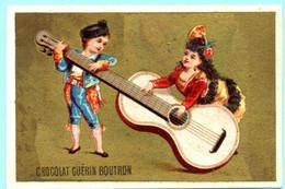 RARE Chromo Chocolat Guérin-Boutron Imp. APPEL . Instruments De Musique. Fond Doré. AP 3-1-43-2/6 - Guerin Boutron