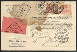Luxembourg Luxemburg Carte Remboursement Geiben Hollerich 21.03.1913 à Frisange Via Mondorf Guillaume 35 Cts - 1906 Willem IV