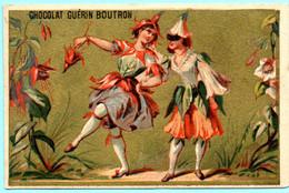 TRES RARE Chromo Chocolat Guérin-Boutron Imp. APPEL . Femmes En Habits De Fleurs. Chèvrefeuille. Fond Doré. AP 3-1-50/11 - Guerin Boutron