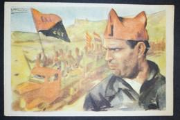 España Guerra Civil - Postal Cruz Roja Nº5 Durruti CNT FAI - Spain Civil War - Espagne Guerre - Antifascist - Anarchist - Vignette Della Guerra Civile