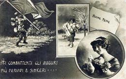 AI COMBATTENTI GLI AUGURI PIU' FERVIDI E SINCERI...BUONE FESTE.Viaggiata Il 24-12-1915 X Chieti- - Patrióticos