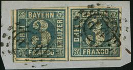 BAYERN 1854, 3 Kr. BLAU, Nr. 2II MISCHPAAR UND 2 X STPL B.P., SEM 77,- TOPP! - Bavaria