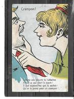 """Théme-Fantaisie-Illustrateur Signé- """"GRIFF-Jeune FEMME Disant Ses 4 Verités A Un Macho-"""" CRAMPON """" - Griff"""