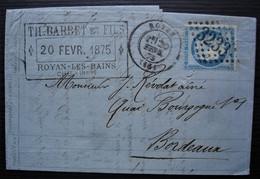 Royan 1875 Th Barbet Et Fils Gc 3233, Lettre Pour Bordeaux - 1849-1876: Periodo Clásico
