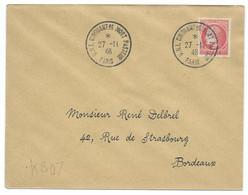 1Fr CERES MAZELIN SUR LETTRE / PARIS  POUR BORDEAUX / 1946 / UNI CINQUANTENAIRE MORT PASTEUR - Gedenkstempels
