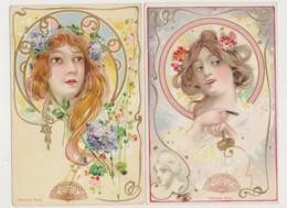4 Cartes Fantaisie D.Lambea Serra - Style Art Nouveau  / Portrait De Jolie Jeune Femme Rousse - Non Classificati