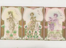 5 Cartes Fantaisie Gaufrées - Style Art Nouveau  / Jeune Femme , Fleurs - Non Classificati