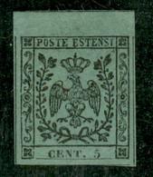 Modena - 1852 - 5 Cent (1) Bordo Foglio - Grandi Margini - Piena Gomma Originale - Impercettibile Punto Chiaro In Alto T - Non Classificati