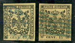 Modena - 1852 - Due 15 Cent (3+3a) Usati - Annulli Azzurri - 3a Con Grandi Margini - Ottimo Insieme - Non Classificati