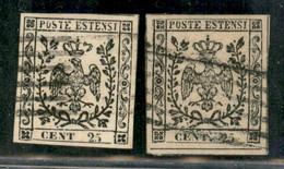 Modena - 1852 - Due 25 Cent (4+4a) Usati - Ottimamente Marginati - Non Classificati