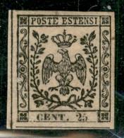Modena - 1852 - 25 Cent Camoscio (4c) Con Stampa Oleosa - Ottimamente Marginato - Piena Gomma Originale Con Invisibile T - Non Classificati
