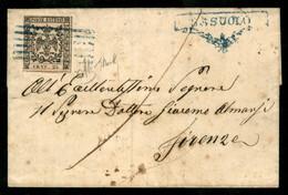 Modena - 25 Cent (4) - Involucro Di Letterina Da Sassuolo (annulli Azzurri) Per Firenze Giunta Il 25.2.55 - Chiavarello - Non Classificati