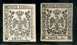 Modena - 1852 - Prove - 5 Cent (P20 - Carta Vergata) Senza Gomma E Con Stampa Difettosa A Destra (senza Filetto) + 5 Cen - Non Classificati