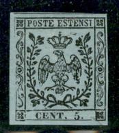 Modena - 1852 - Prove - 5 Cent (P22) - Filetto Sinistro Difettoso - Senza Gomma - Non Classificati