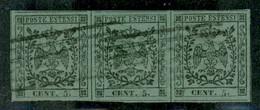 Modena - 1852 - 5 Cent (7) - Striscia Orizzontale Di 3 - Grandi Margini - Usati - Molto Bella - Non Classificati