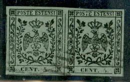 Modena - 1852 - 5 Cent (8) - Coppia Orizzontale - Ottimi Margini Regolari E Leggeri Annullamenti - Usato - Emilio Diena - Non Classificati