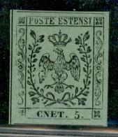 Modena - 1852 - 5 Cent (8f) - Errore CNET - Grandi Margini - Stampa Difettosa A Sinistra - Senza Gomma - Emilio Diena +  - Non Classificati