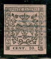 Modena - 1852 - 10 Cent (9 - Varietà) - Bordo Di Foglio In Basso + Parziale Doppio Filetto A Sinistra (non Catalogato) - - Non Classificati
