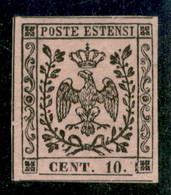 Modena - 1854 - 10 Cent Rosa Vivo (9a) - Ottimi Margini -  Molto Bello - Gomma Originale - A.Diena + G. Bolaffi - Non Classificati