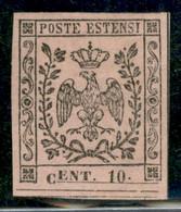 Modena - 1852 - 10 Cent (9c - Varietà) - C Caduta In Basso + Doppio Filetto In Basso (vedi 3f) - Gomma Originale - Non C - Non Classificati