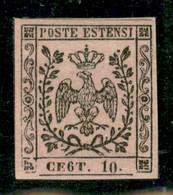 Modena - 1852 - 10 Cent (9d) - Errore CE6T - Ottimi Margini - Gomma Originale - Molto Bello - A.Diena - Non Classificati