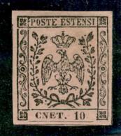 Modena - 1852 - 10 Cent (9f) - Errore CNET (senza Punto) - Ottimamente Marginato - Gomma Originale  - Emilio Diena + A.D - Non Classificati