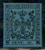 Modena - 1854 - 40 Cent (10) - Stampa Oleosa - Ottimi Margini Regolari - Gomma Originale - Molto Bello - A.Diena - Non Classificati