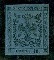 Modena - 1854 - 40 Cent (10f) - Errore CNET - Lieve Sfaldatura Naturale Della Carta (sotto La Gomma) - Piena Gomma Origi - Non Classificati