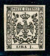Modena - 1853 - Prova - 1 Lira (P28) - Grandi Margini (bordo Di Foglio A Sinistra) - Senza Gomma - A.Diena - Non Classificati