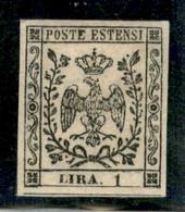 Modena - 1853 - 1 Lira (11) - Filigrana Capovolta - Ottimi Margini - Gomma Originale - A.Diena - Non Classificati