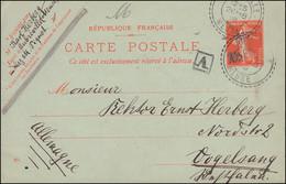 Frankreich Postkarte 10 C. Säerin Von AUBREVILLE MEUSE 26.8.1909 Nach Vogelsang - Non Classés