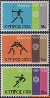 Cyprus 1972 - Mi:377/379, Yv:369/371, Stamp - XX - Olympics Munich - Nuovi