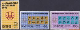 Cyprus 1976 - Mi:454/456, Yv:448/450, Stamp - XX - Olympics Montreal - Nuovi