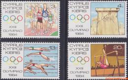 Cyprus 1984 - Mi:613/616, Yv:608/611, Stamp - XX - Olympics Los Angeles - Nuovi