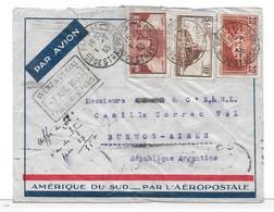 AEROPOSTALE CGA - 1933 - 20 F PONT DU GARD SUR LETTRE PAR AVION POUR ARGENTINE - Lettres & Documents
