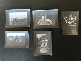 5 X Photo - 1913 - BOURG EN BRESSE Hopital St Georges - Jenes Femmes à La Peche Et Avec Les Vaches - Places