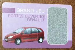 RENAULT VOITURE JOURNÉE PORTES OUVERTES OFFERTE SUPPORT PAPIER PAS TÉLÉCARTE CARS - Voitures