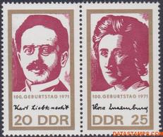 Ddr 1971 - Mi:1650/1651, Yv:1336A, Stamp - XX - Karl Servant Rosa Luxembourg - Nuovi