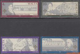Malta 1990 - Mi:837/840, Yv:816/819, Stamp - XX - British Writers Portraits And Buildings - Malta