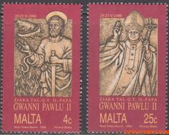 Malta 1990 - Mi:841/842, Yv:820/821, Stamp - XX - Pope Johanes Paulus II - Malta