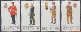 Malta 1990 - Mi:846/849, Yv:825/828, Stamp - XX - Military Uniforms - Malta