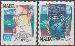 Malta 1987 - Mi:782/783, Yv:763/764, Stamp - XX - United Nations O.n.u. - Malta