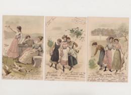 3 Cartes Fantaisie  Dessinées / Trio De Jeunes Femmes En Promenade - Women