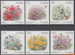 Malta 2001 - Mi:1193/1198, Yv:1163/1168, Stamp - XX - Long-term Series Flowers - Malta